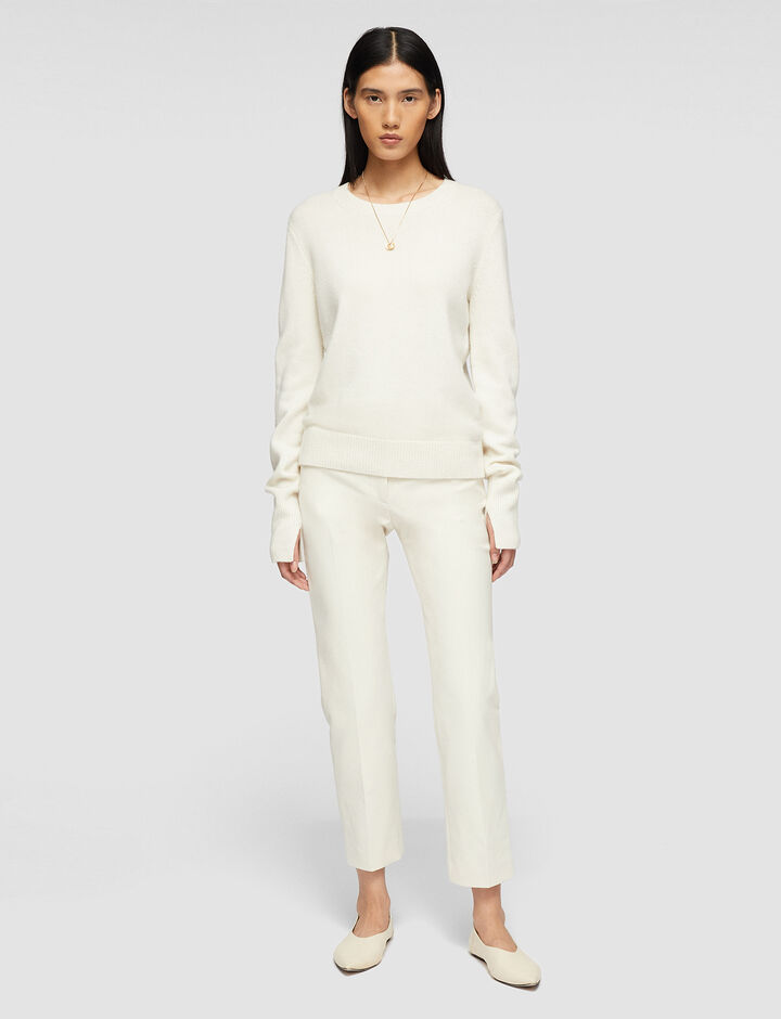 Joseph, Rd Nk Ls-Pure Cashmere, in IVORY