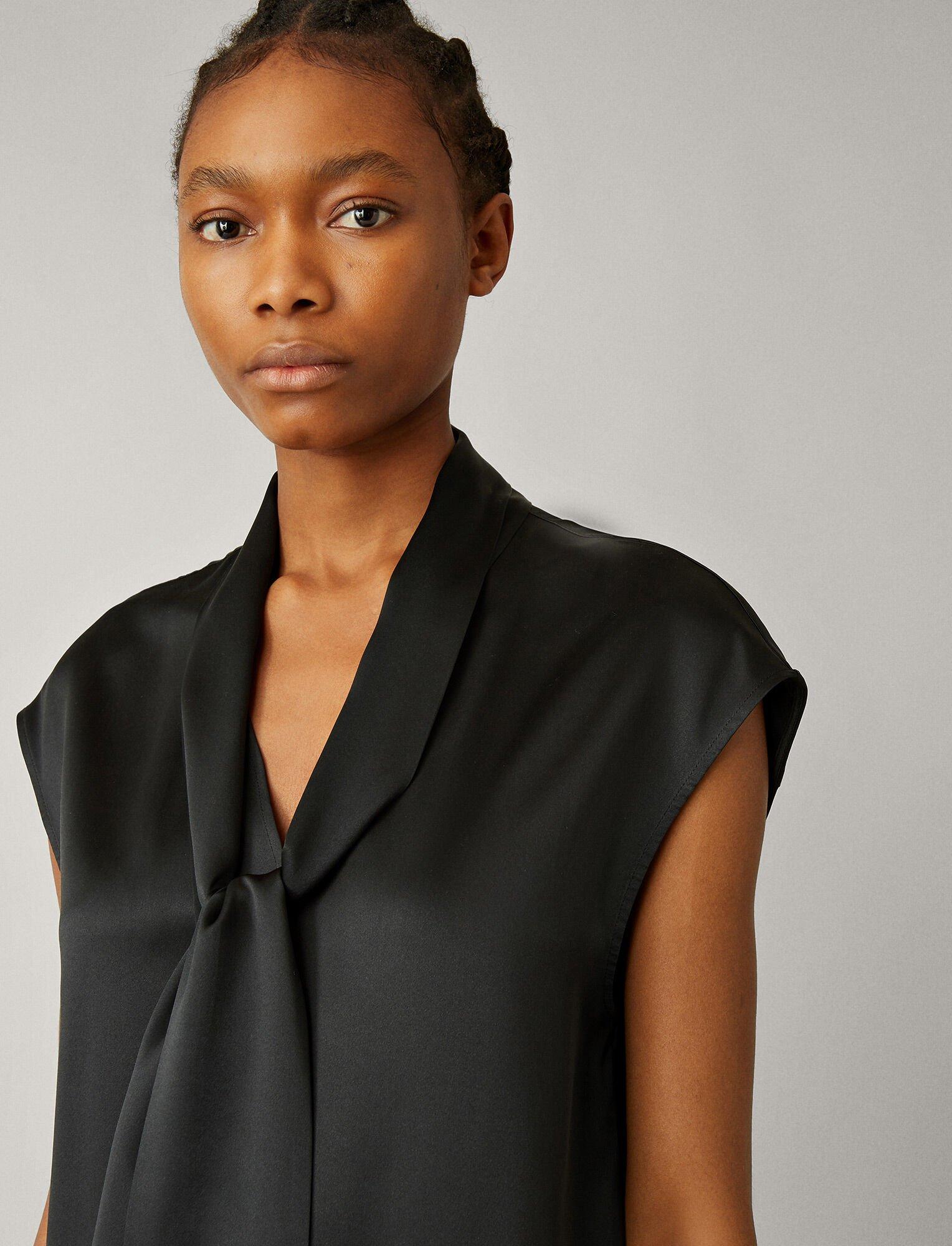 Joseph, Nancy Silk Satin Blouse, in BLACK