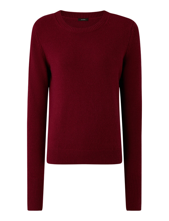Joseph, Rd Nk Ls Pure Cashmere Knitwear, in Plum