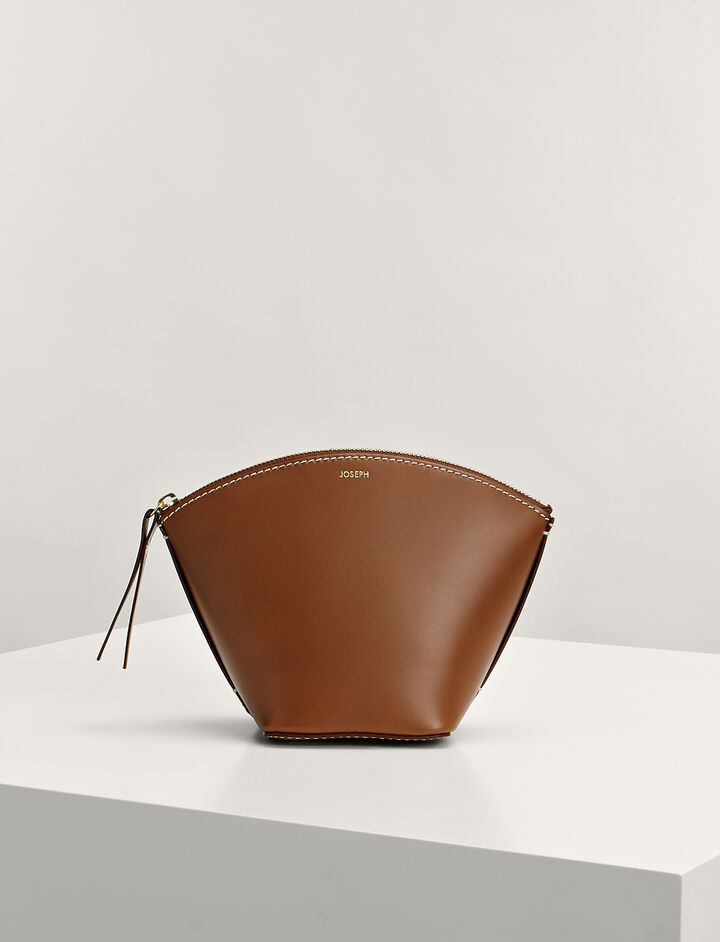 Joseph, Calf-Leather Taco Clutch Bag, in SADDLE