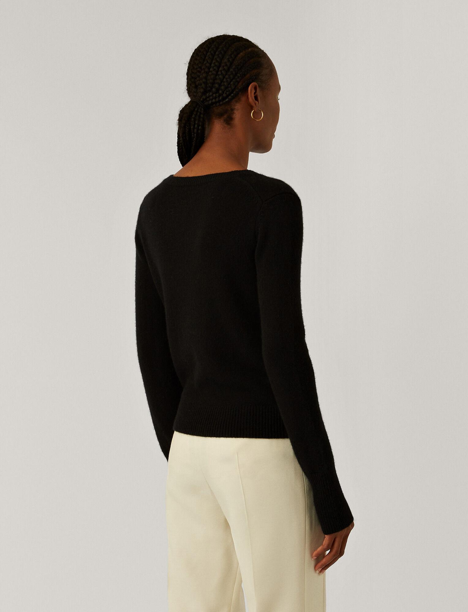 Joseph, V Neck Pure Cashmere Knit, in Black