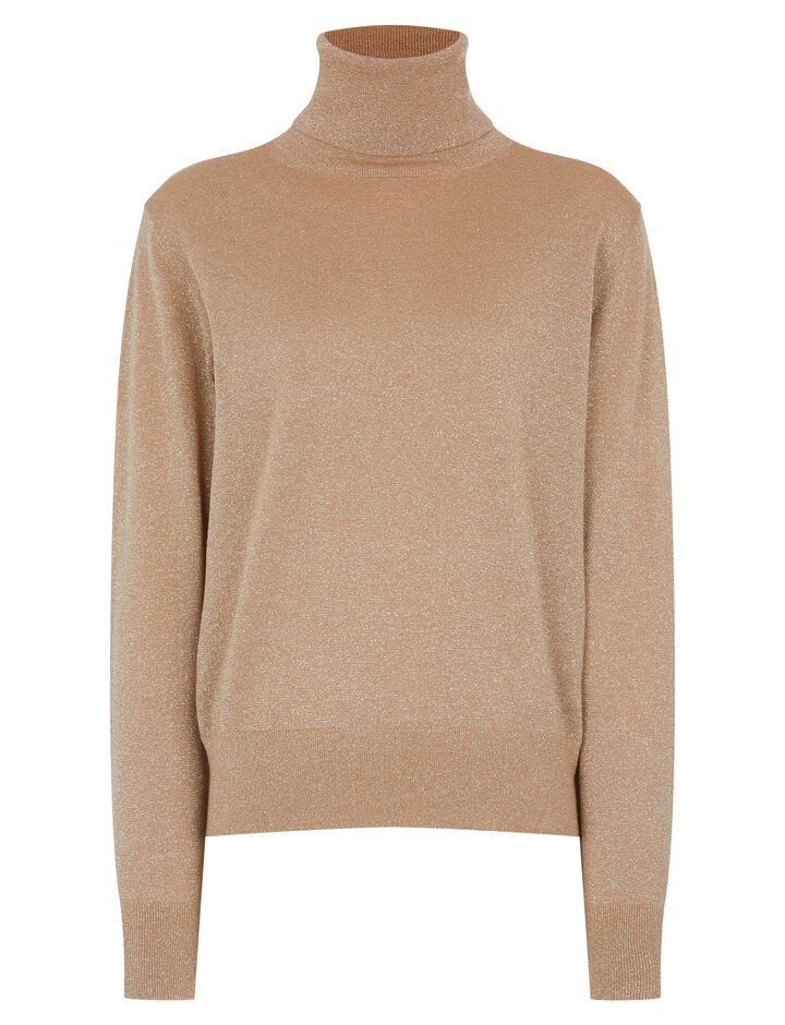 Joseph, Roll Neck Merinos Lurex Knit, in CAMEL