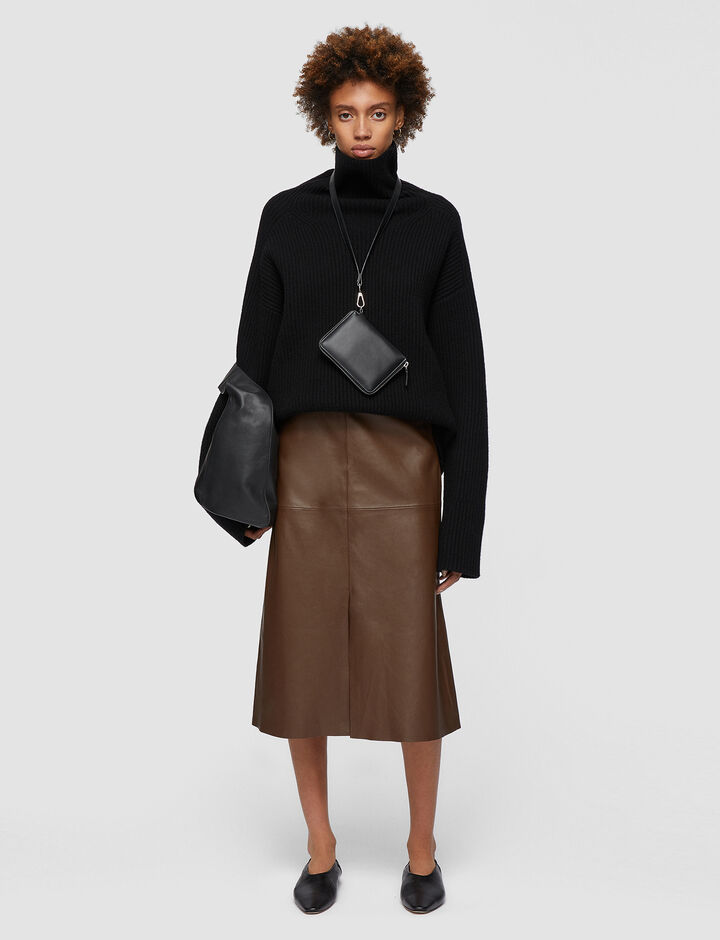 Joseph, Nappa Leather Sidena Skirt, in PINECONE