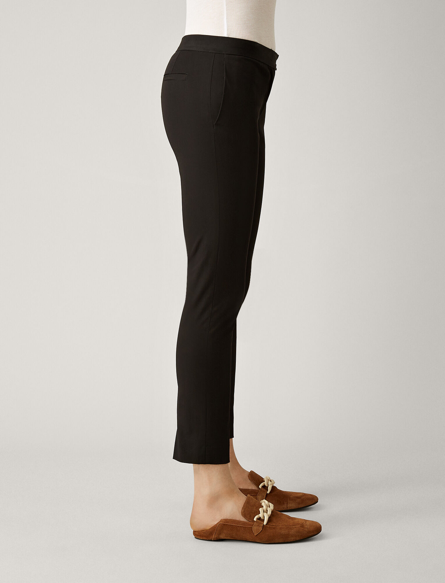 Joseph, Finley Polish Cotton Trousers, in BLACK
