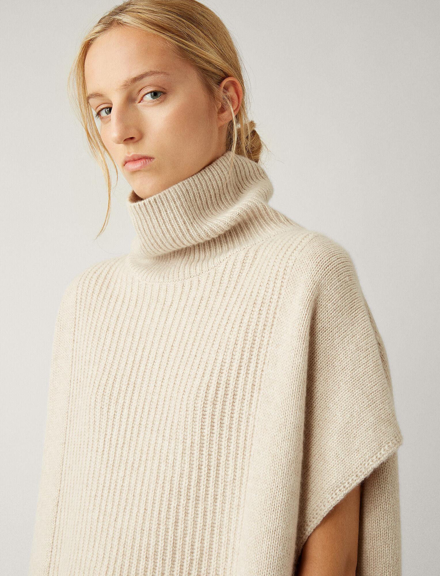 Joseph, Poncho Cashmere Luxe Knit, in MASTIC