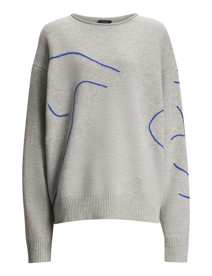 Joseph, Embroidery Knit, in GREY CHINE