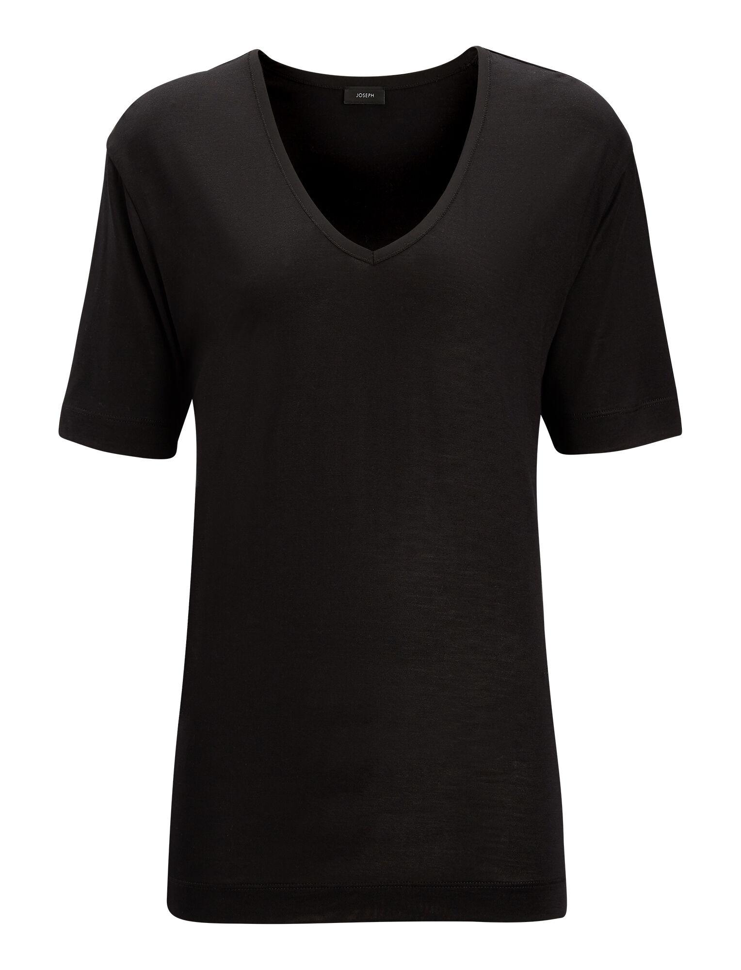 ef9e0034969af V Neck Silk Jersey Tee in Black