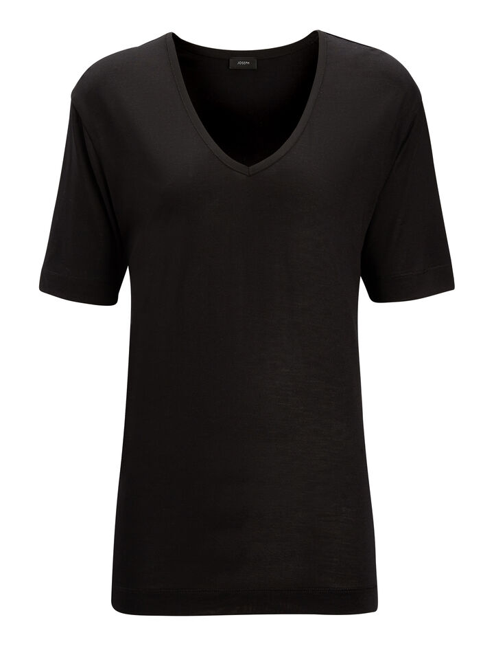 Joseph, V Neck Silk Jersey Tee, in BLACK