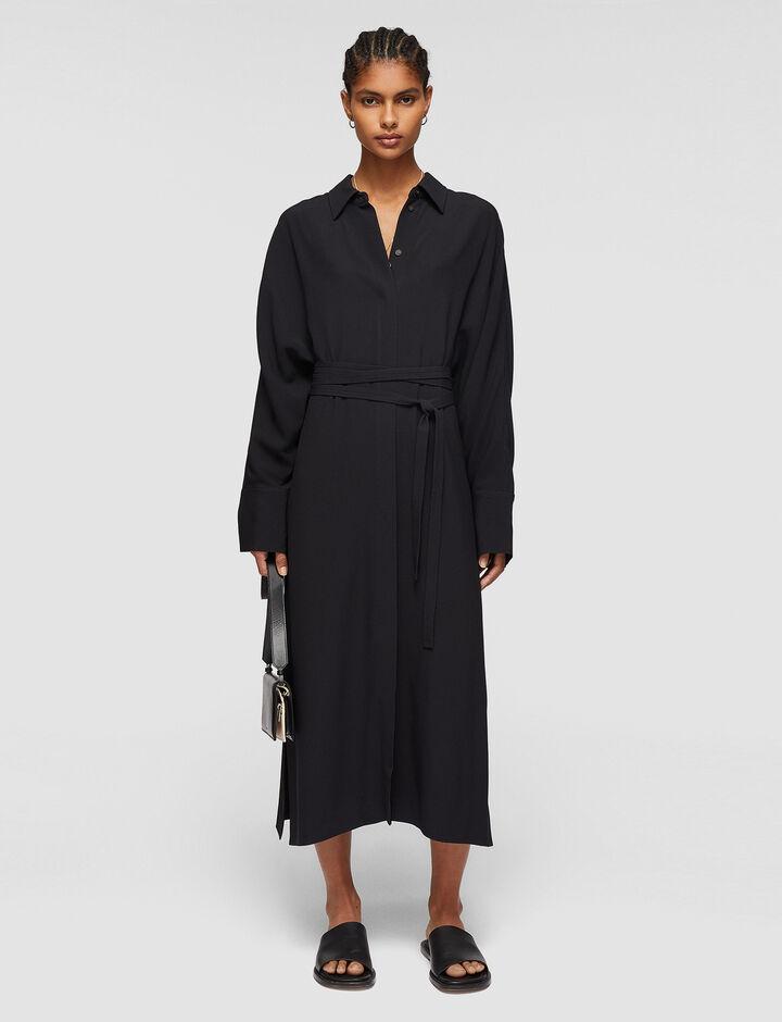Joseph, Crepe Satin Dalan Dress, in BLACK