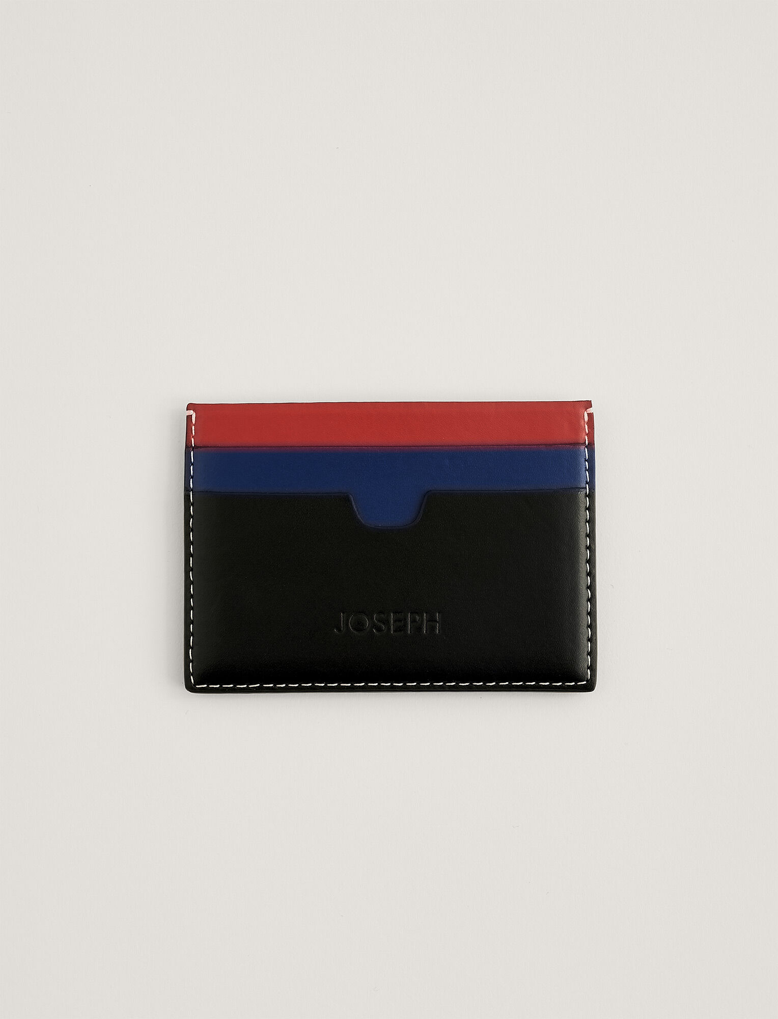 Joseph, Leather Card Holder, in MIX 2 TOMATO/COBALT/BLACK