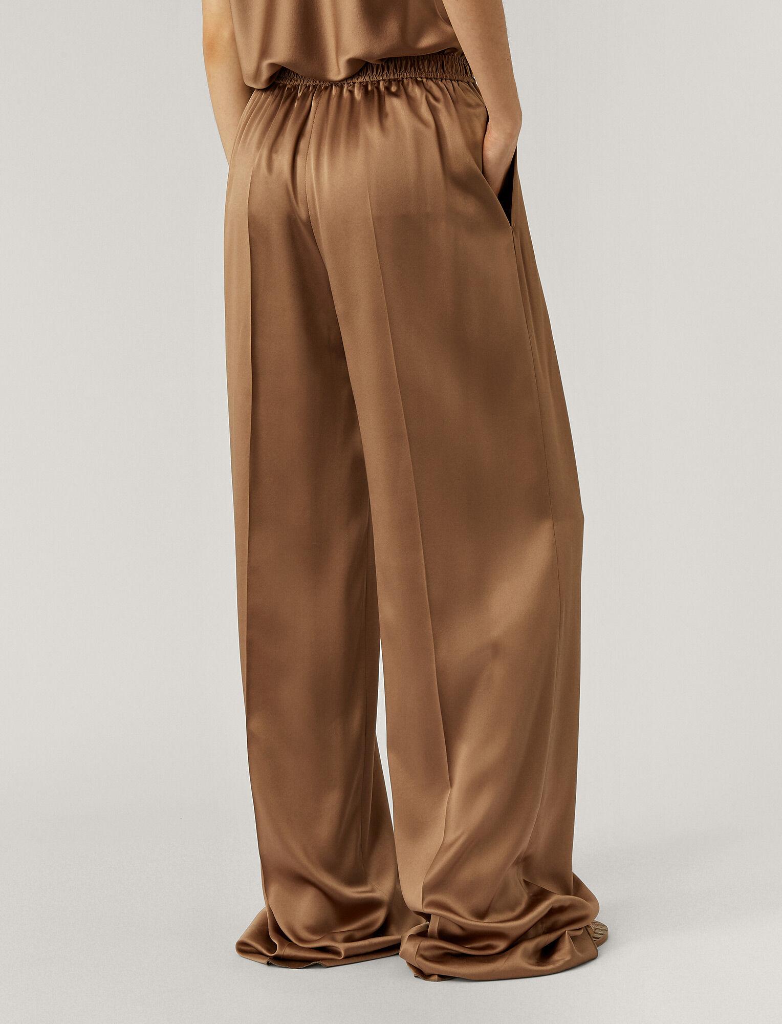 Joseph, Taffy Silk Satin Trousers, in Taupe