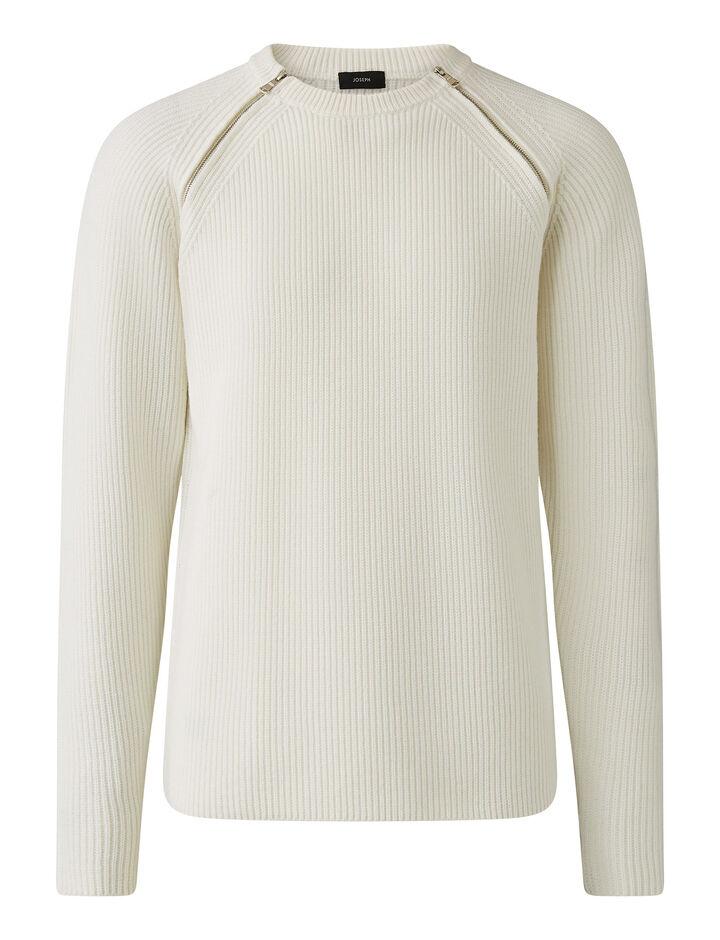 Joseph, Zip Merinos Knit Knitwear, in White