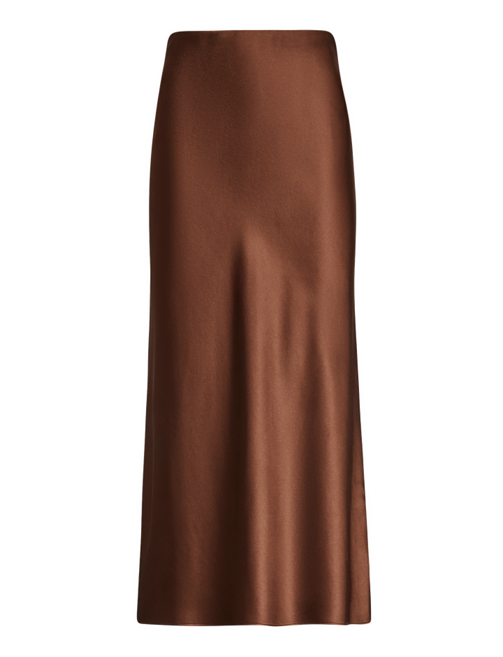 Joseph, Frances Silk Satin Skirt, in RAISIN