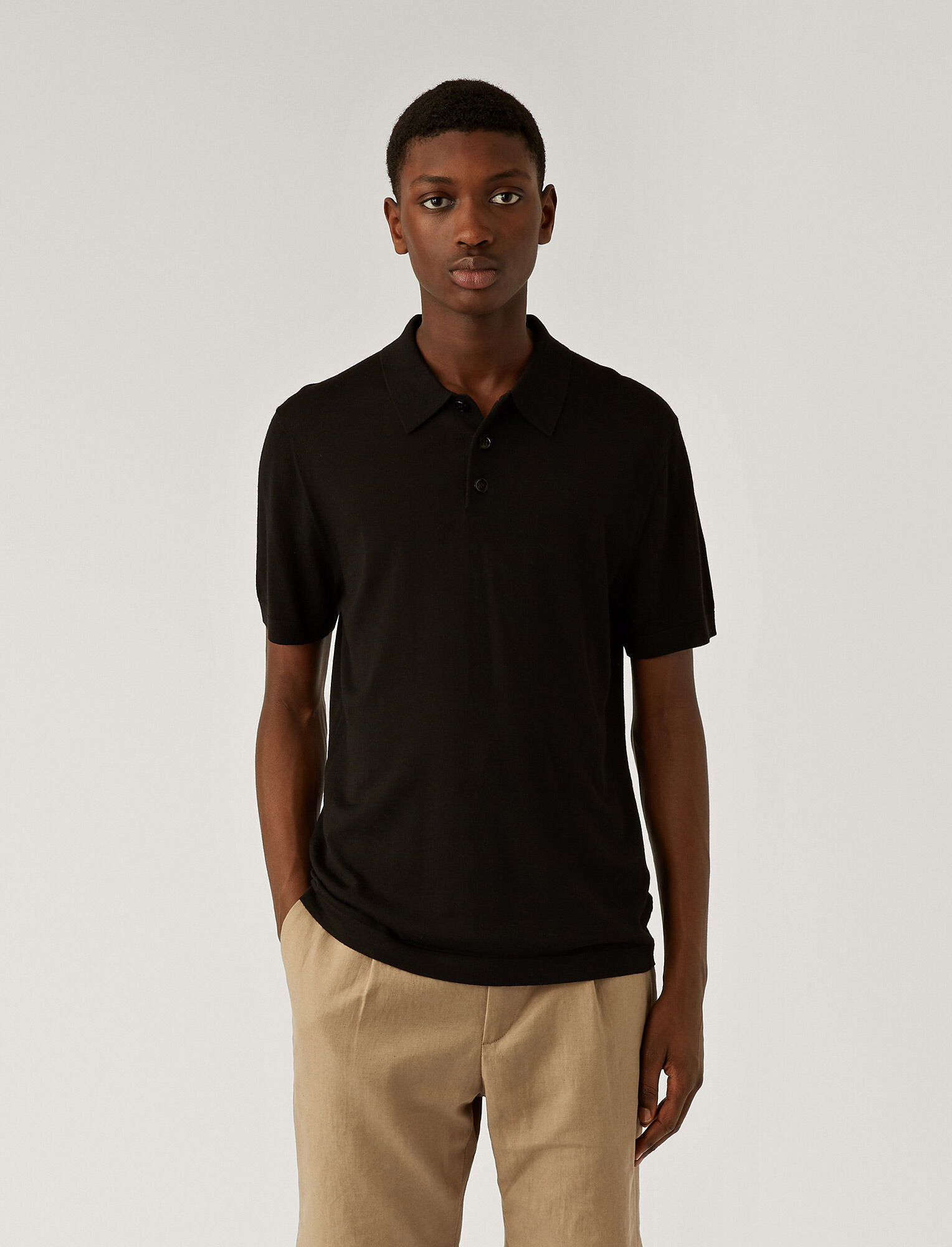 Joseph, Polo Light Merinos Knit, in BLACK