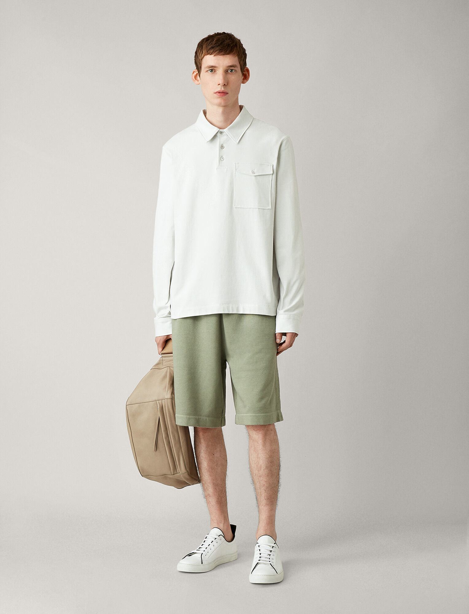Joseph, Polo Heavy Jersey Tee, in STONE