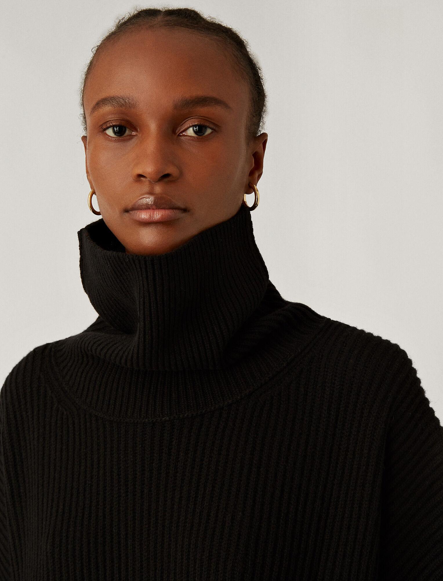 Joseph, Poncho Cardigan Stitch Knit, in Black