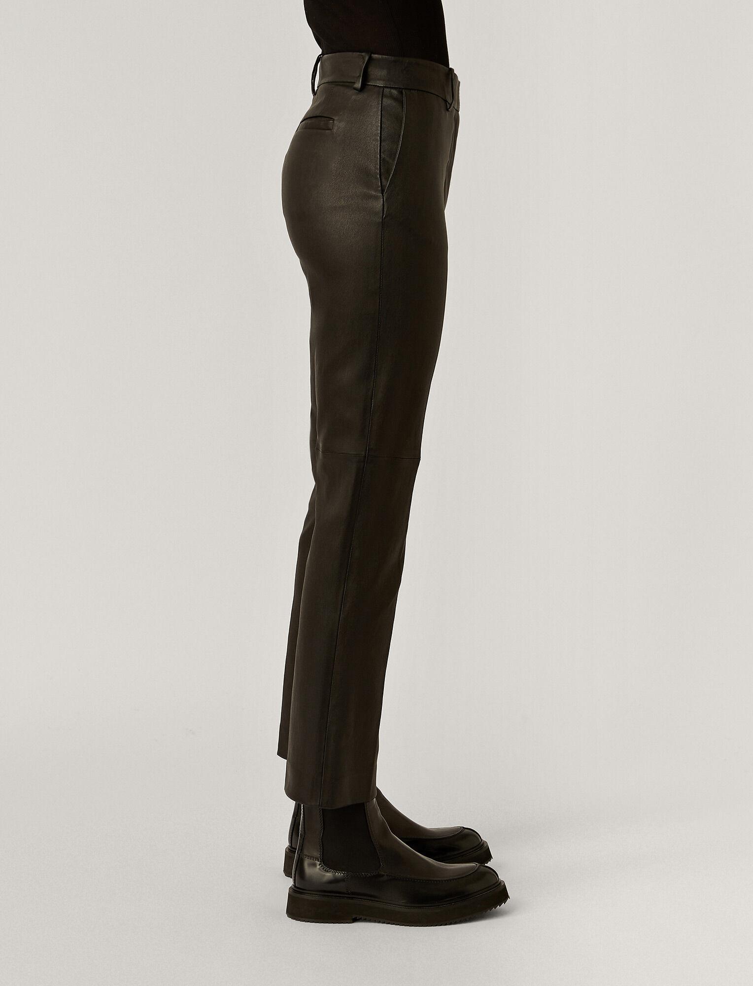 Joseph, Pantalon Coleman en cuir stretch, in Black