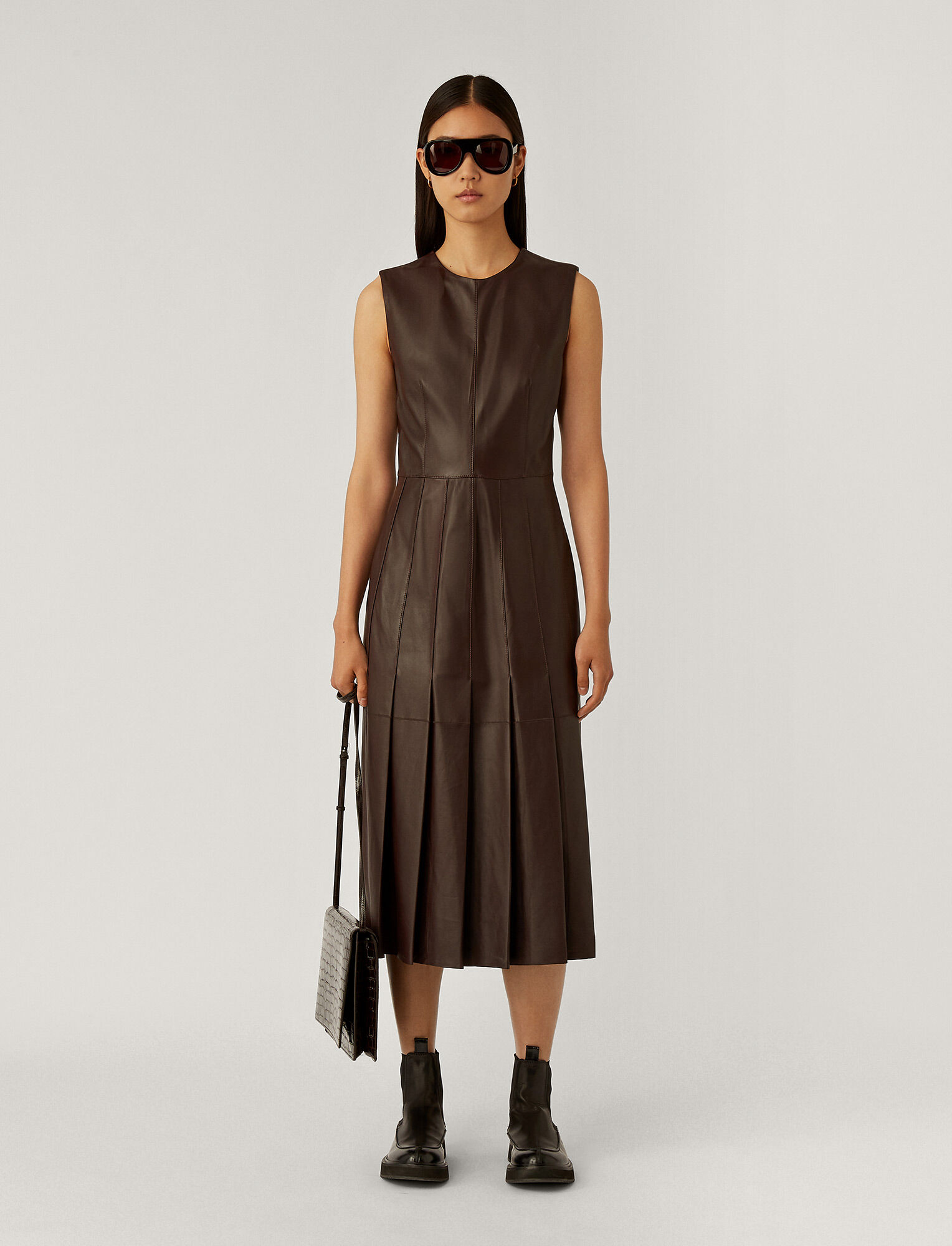 Joseph, Demry Nappa Leather Dress, in Ganache