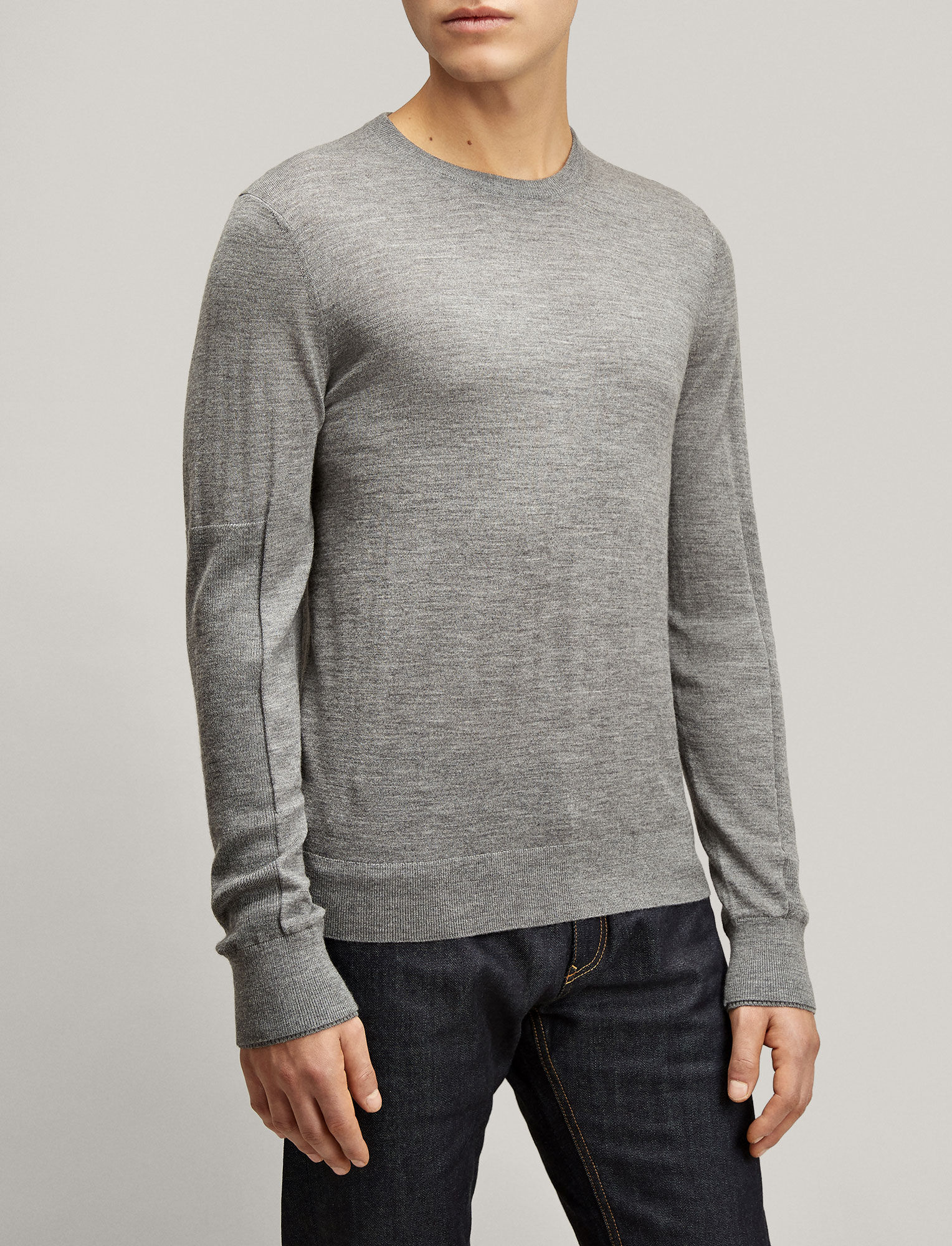 Joseph, Merinos + Rib Patch Sweater, in GRAPHITE