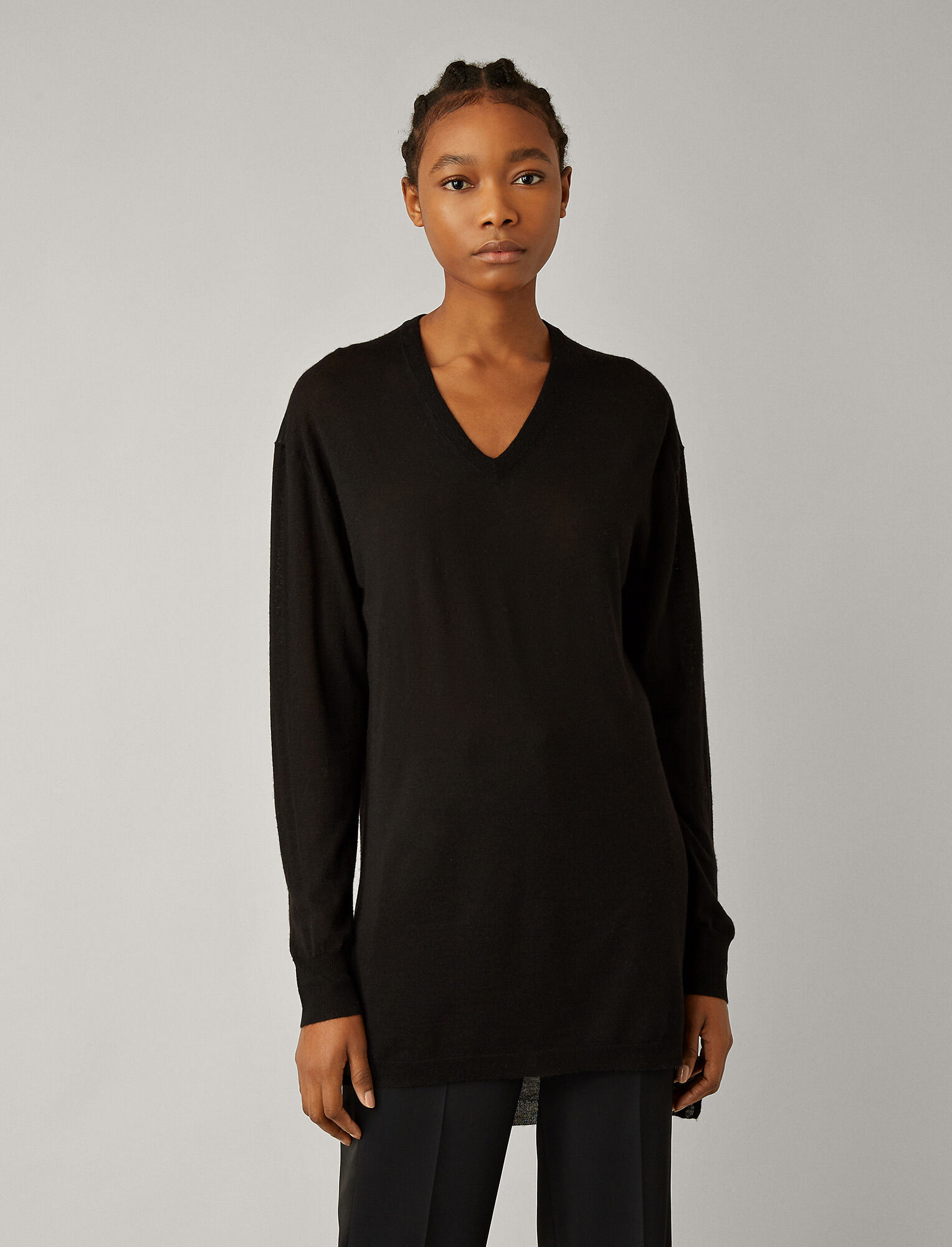 Joseph, V Neck Cashair Knit Tunic, in BLACK