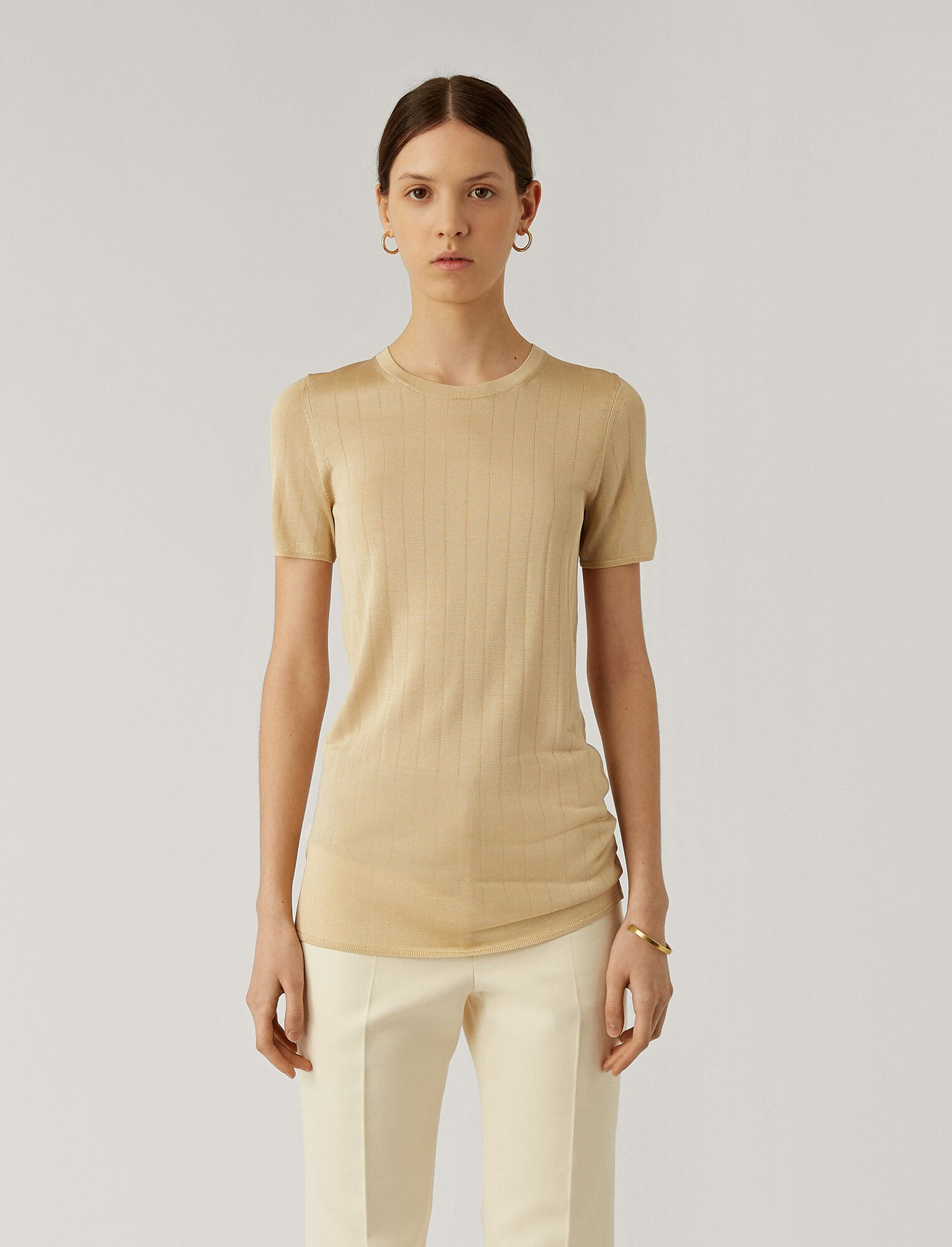 Joseph, Shinny Rib Knit Tee, in STRAW