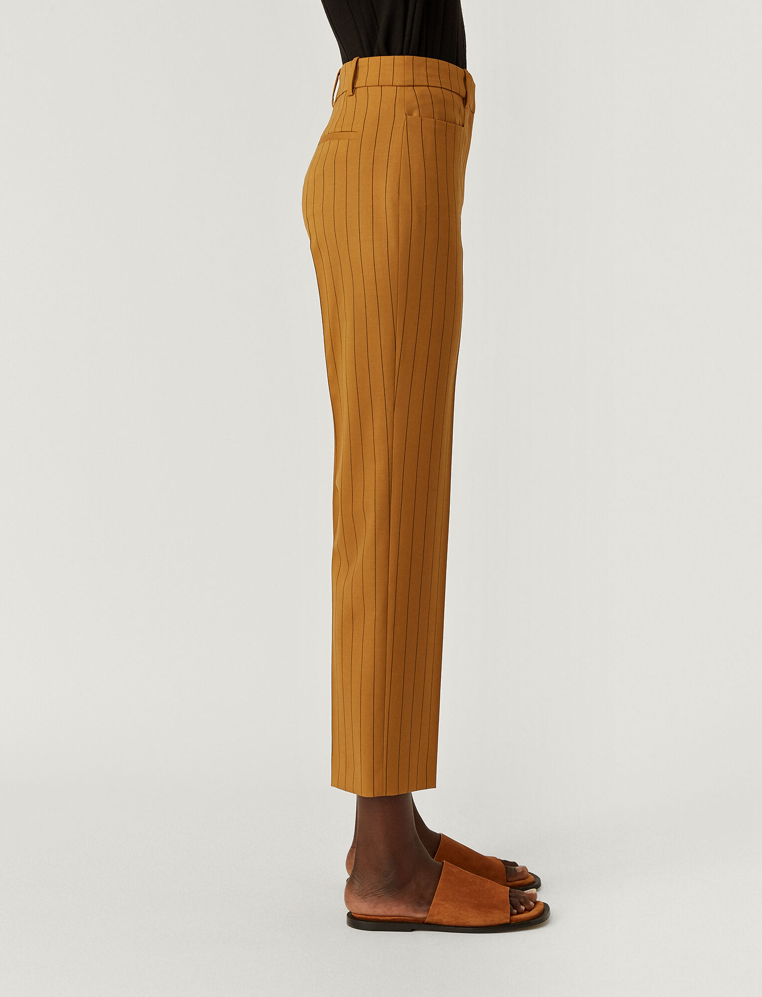 Joseph, Wool Spring Stripe Sloe Trousers, in OAK
