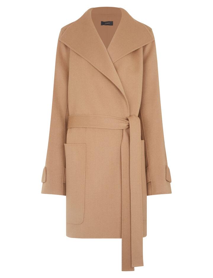 Joseph, Lista Short Double Wool Gloss Coat, in CAMEL