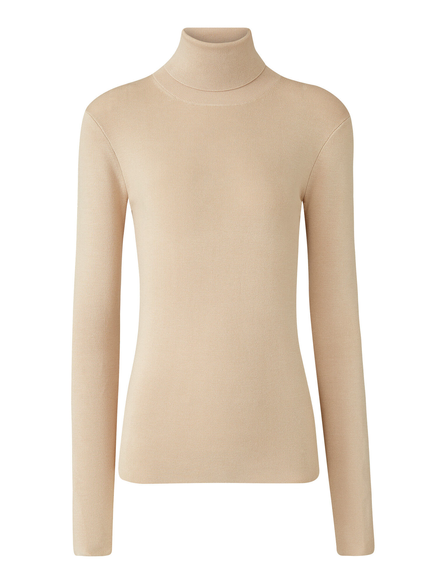 Joseph, Roll Neck Silk Stretch Knit, in LATTE