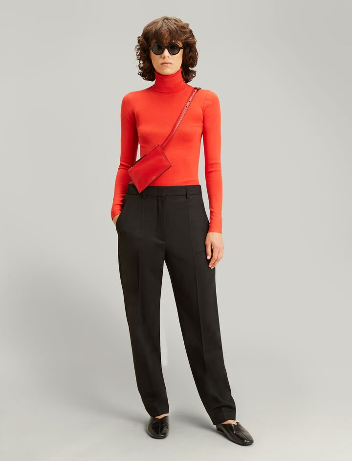 Joseph, Roll Neck Silk Stretch Knit, in TOMATO