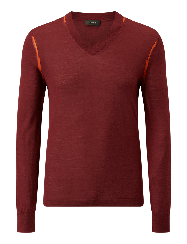 Joseph, V Neck Light Merinos Knit, in GARNET