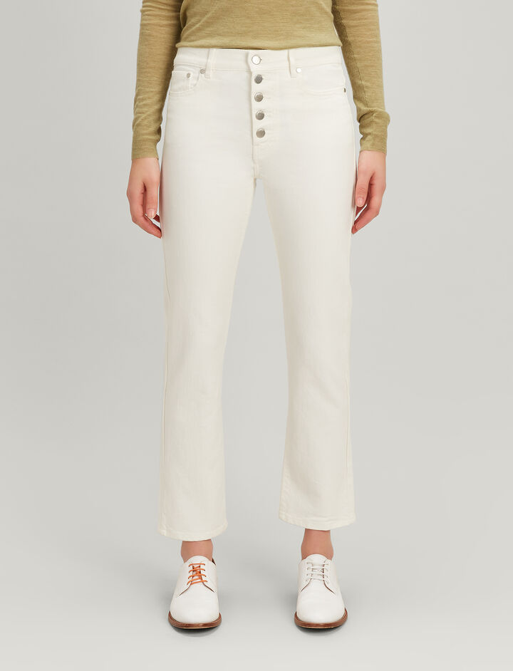 Joseph, Denim-Stretch Den Trouser, in WHITE