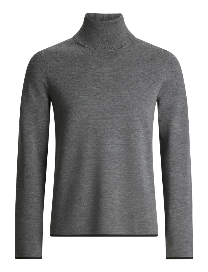 Joseph, Roll Neck Fine Milano Knit, in CHARCOAL