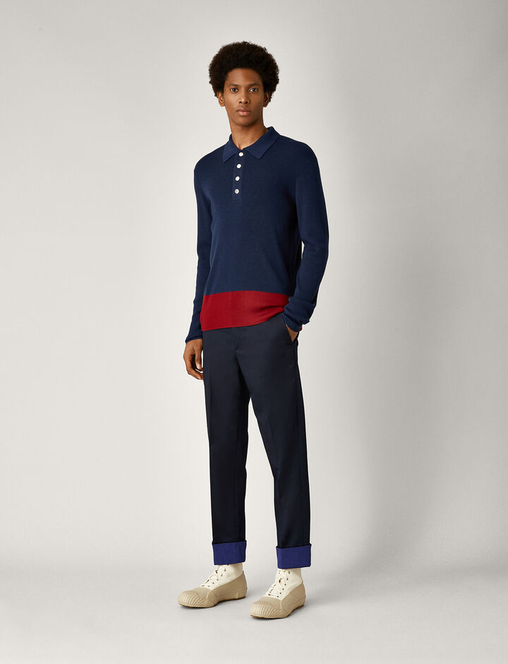 Joseph, Polo Neck Fine Rib + Snaps Knit, in AIR FORCE