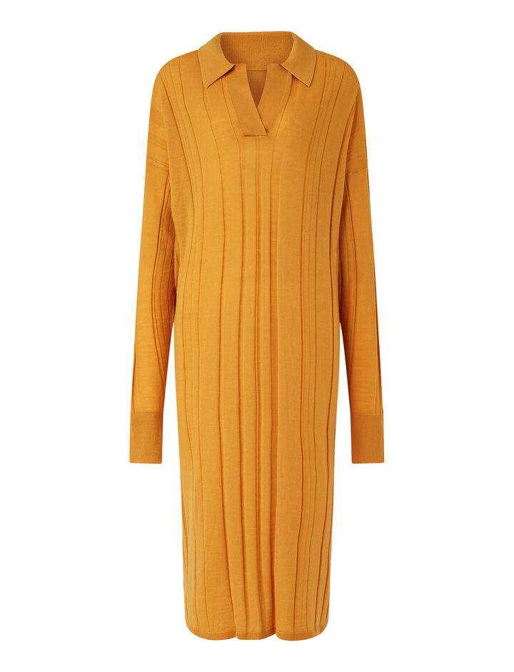 Joseph, O'size Dress-Fine Merinos, in SAFFRON