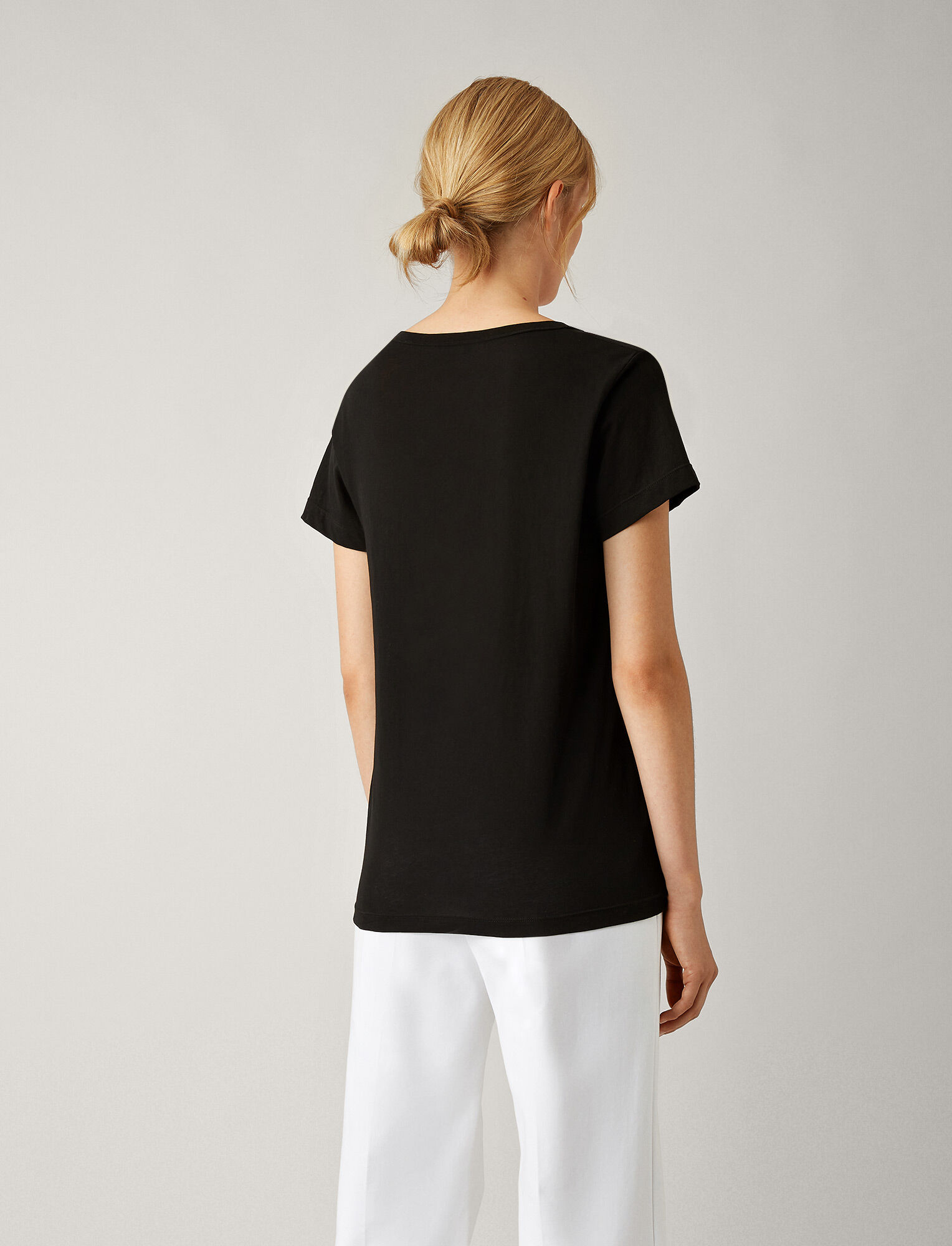 Joseph, V Neck Light Cotton Jersey Tee, in BLACK