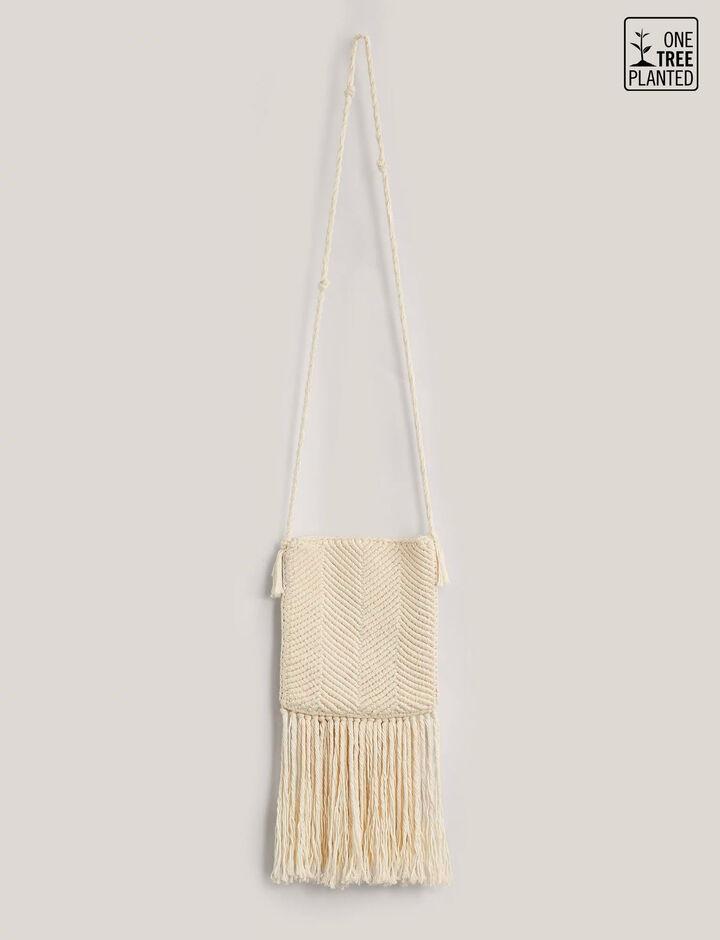 Joseph, Pochette-Weave + Fringes, in IVORY