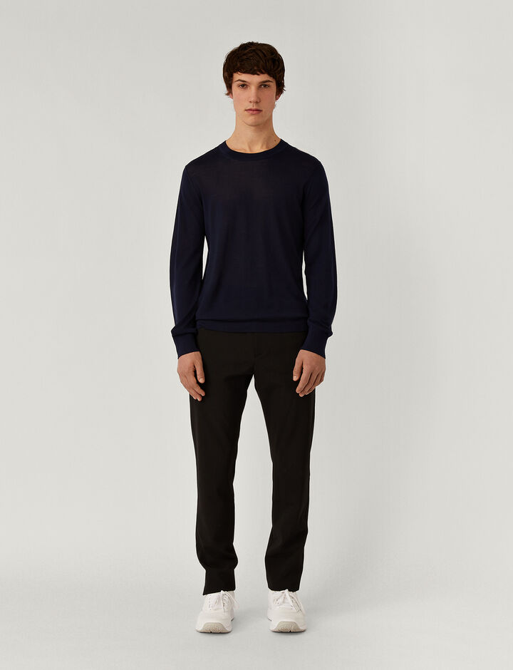 Joseph, Crew Nk Ls-Light Merinos, in NAVY