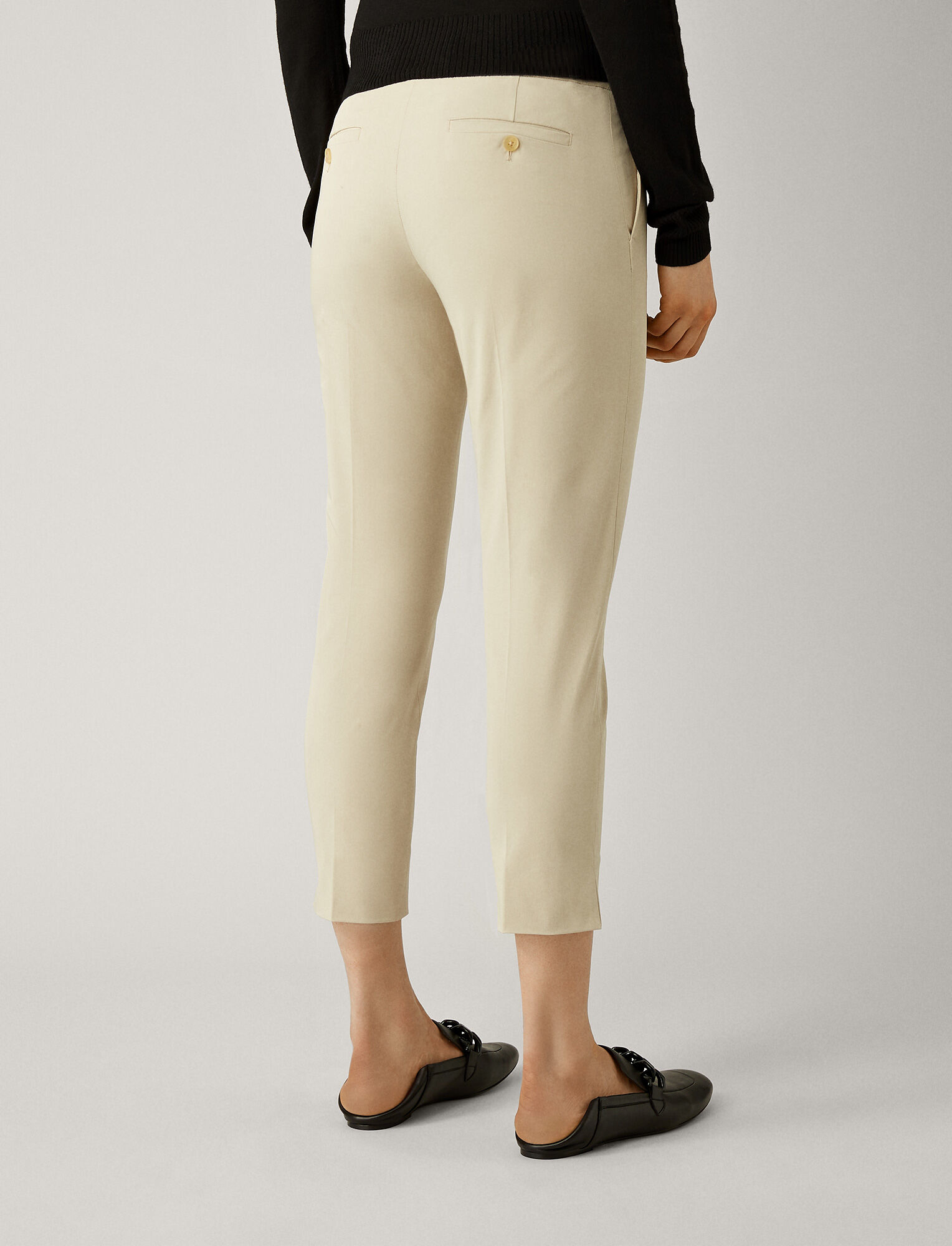 Joseph, Bing Court Polish Cotton Trousers, in STONE