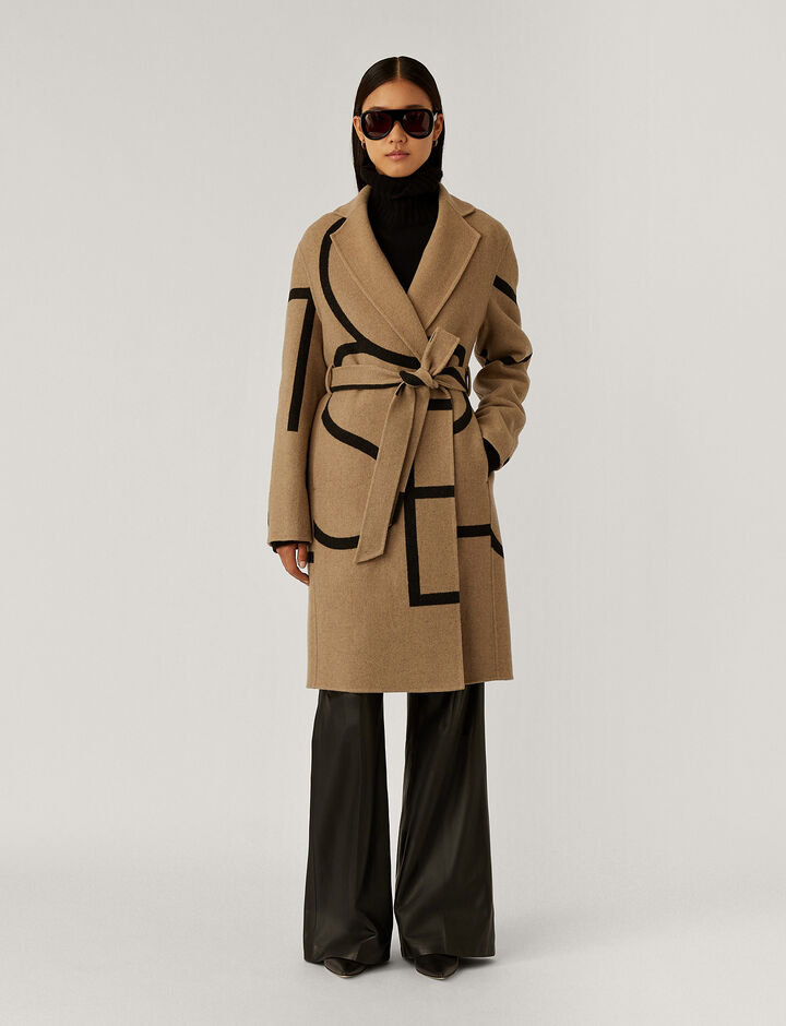 Joseph, Cendi Logo Coat Wool Coats, in Saddle/Black