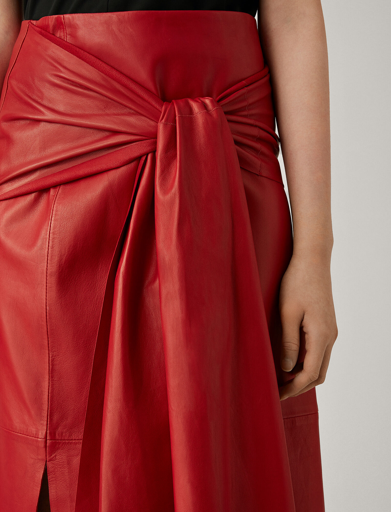 Joseph, Renne Leather Skirt, in RUBY