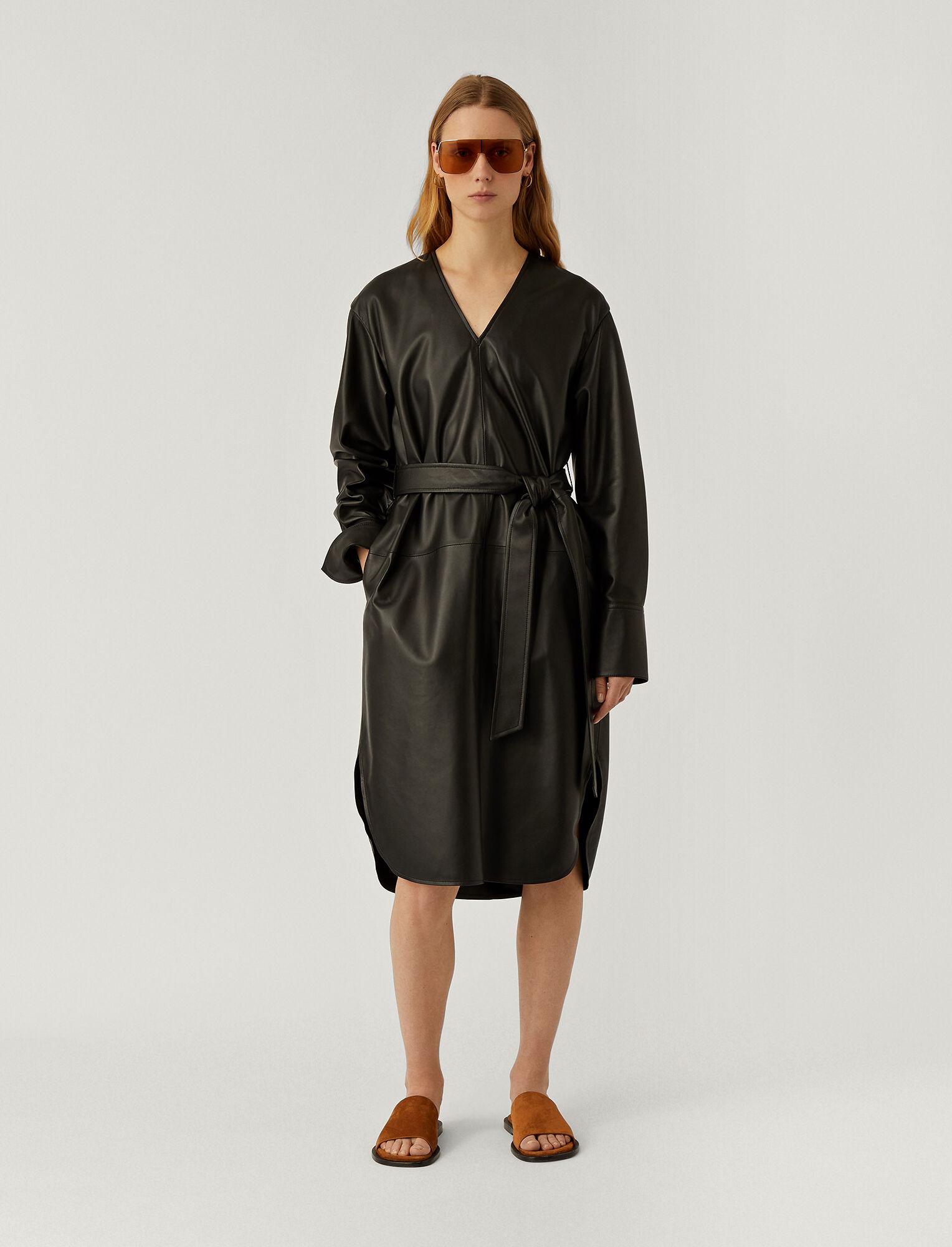 Joseph, Nappa Leather Dahlia Dress, in BLACK