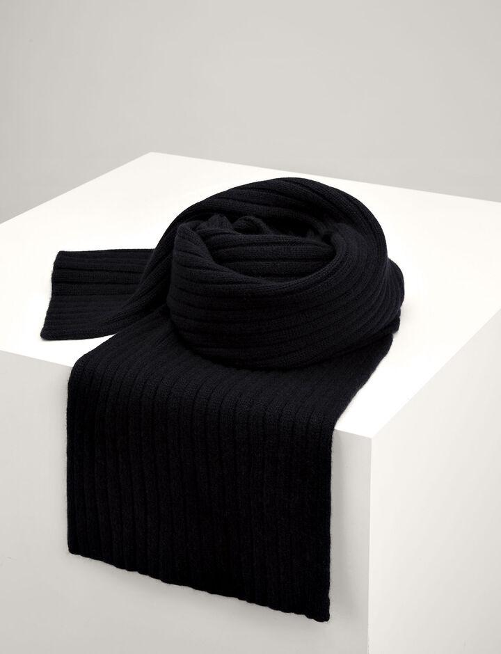 Joseph, Cashmere Luxe Rib Scarf, in BLACK