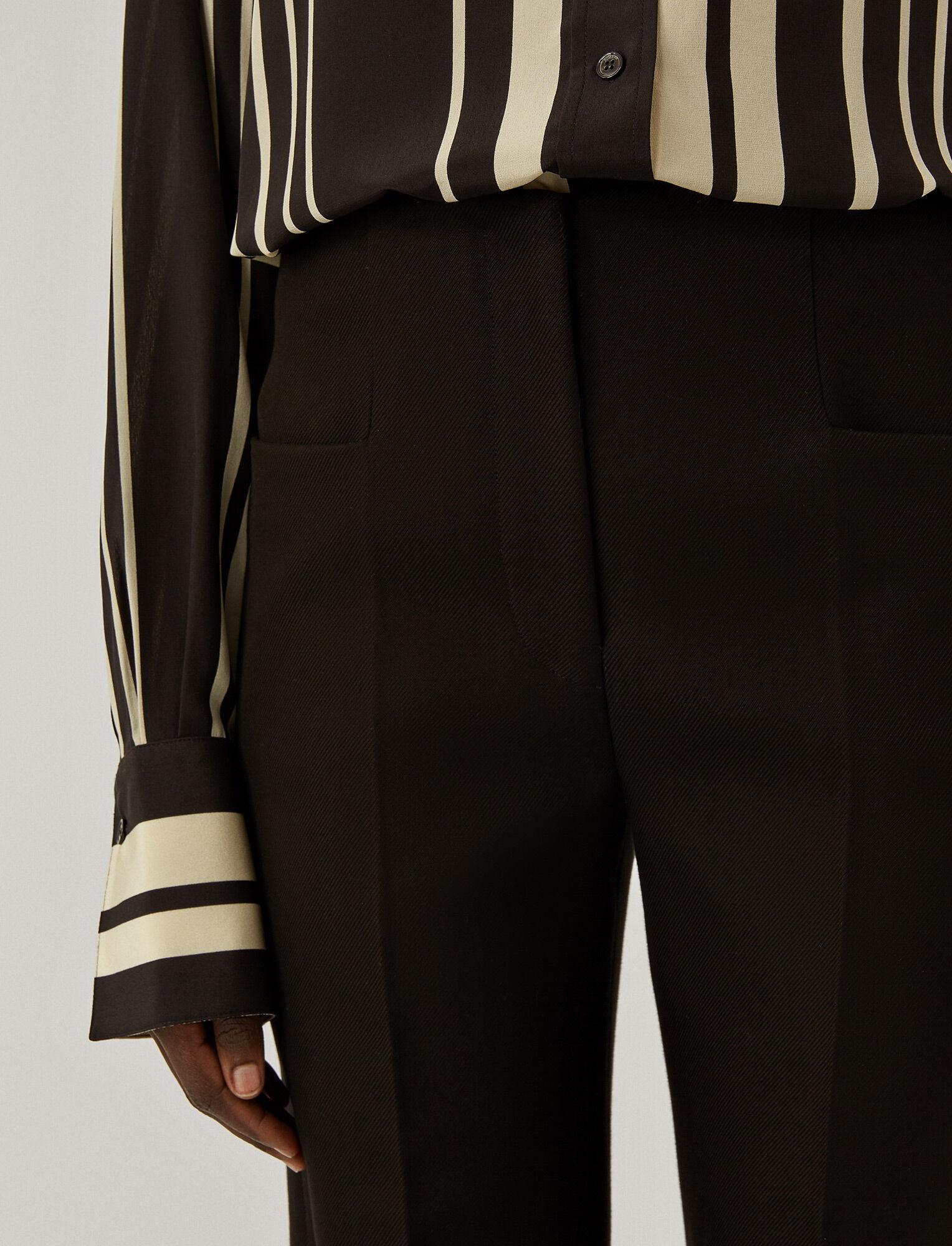 Joseph, Pure Cotton Twill Toris Trousers, in BLACK