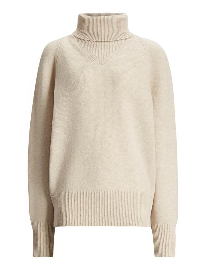 Joseph, High Neck Cosy Wool Knit, in LATTE