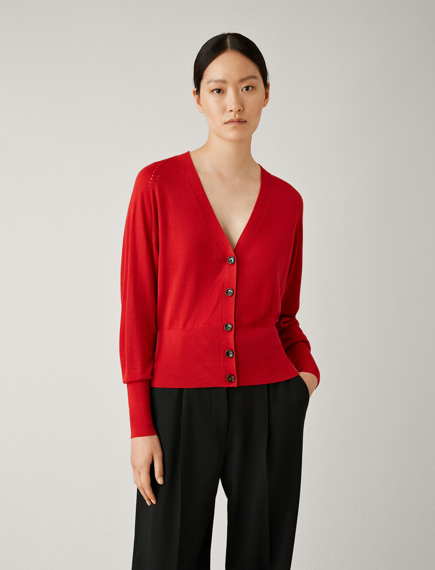 Joseph, Silk Merinos Knit Cardigan, in RUBY