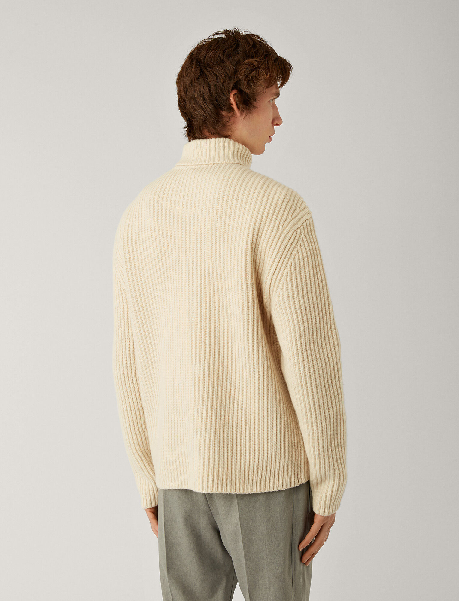 Joseph, High Neck Soft Wool Cardigan Stitch Knit, in IVORY