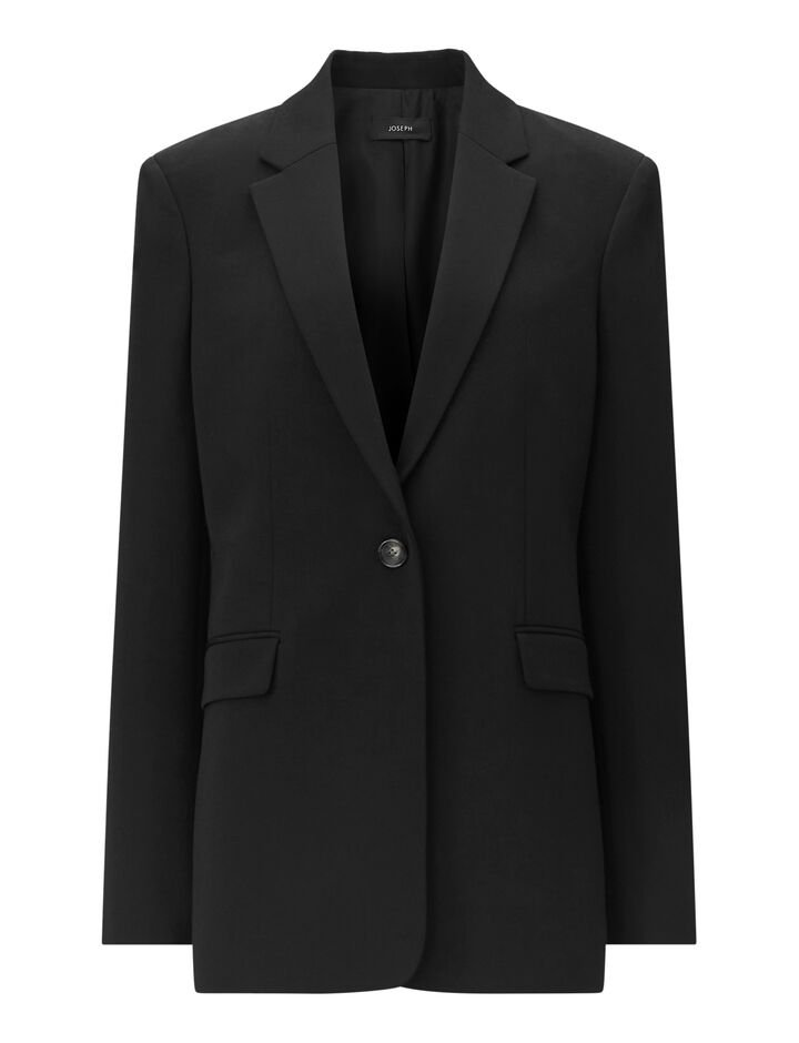 Joseph, New Laurent-Comfort Wool, in BLACK