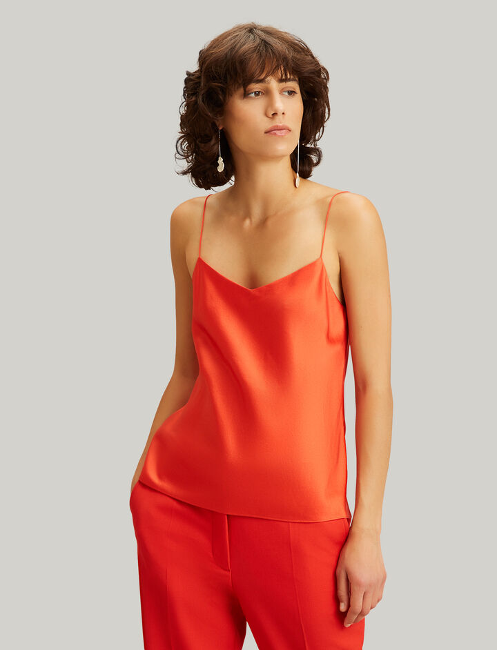Joseph, Sten Silk Satin Blouse, in TOMATO