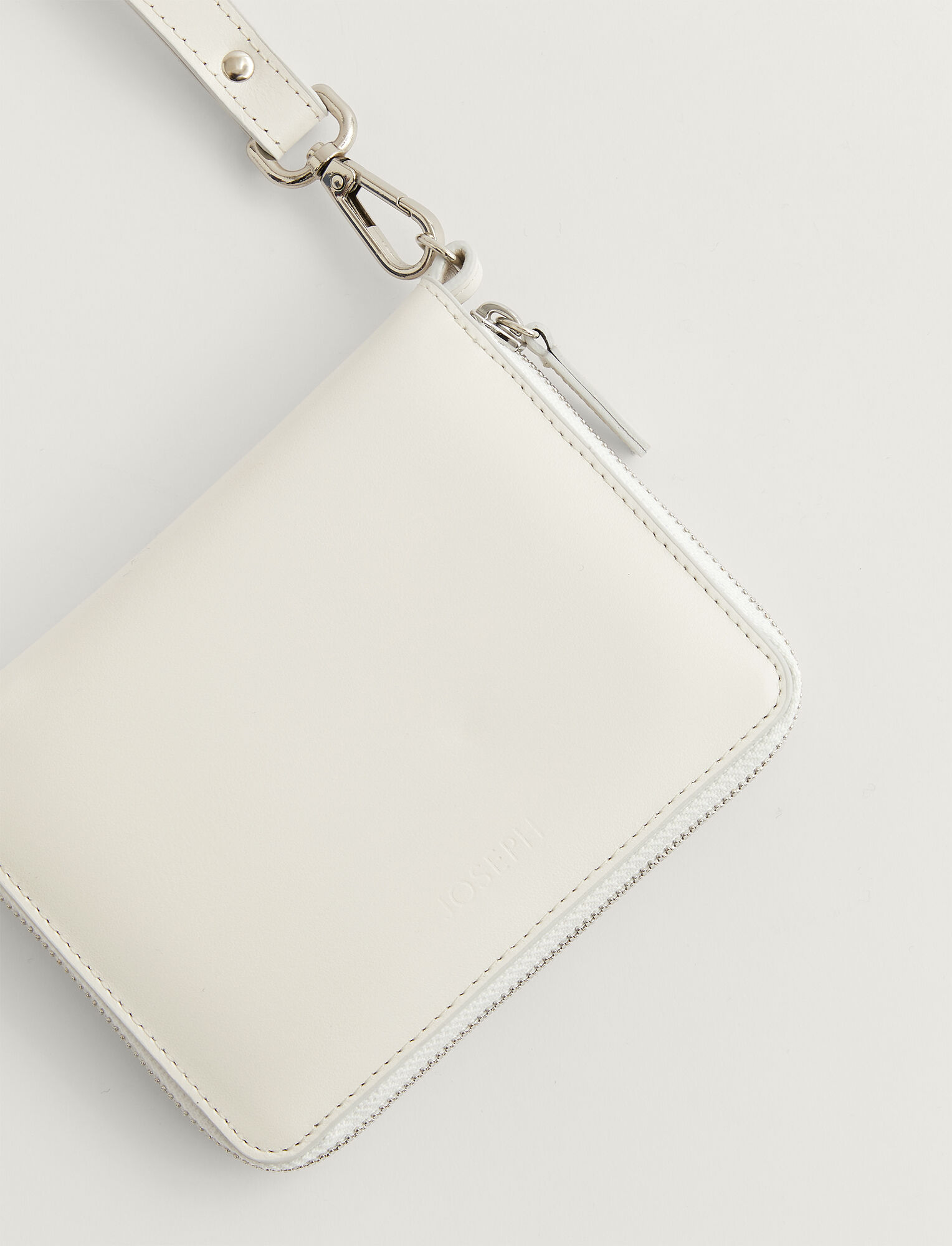 Joseph, Leather Strap Zip Wallet, in OFF WHITE