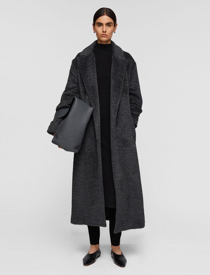 Joseph, Textured Wool Alpaca Cayla Coats, in Nickel